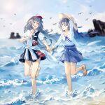 2girls :d absurdres beach bird black_skirt blue_eyes blue_skirt blue_sky clothes_around_waist clouds cloudy_sky fu_hua fu_hua_(herrscher_of_sentience) fu_hua_(phoenix) full_body grey_hair hat highres holding_headpiece honkai_(series) honkai_impact_3rd jacket jacket_around_waist long_hair long_sleeves looking_at_another multiple_girls ocean open_mouth outdoors qqqne red_eyes red_nails running sand sandals shirt skirt sky smile straw_hat summer summer_uniform toes waves white_jacket white_shirt