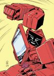 1980s_(style) 1boy autobot casey_w._coller clenched_hand english_commentary highres ironhide mecha no_humans open_hand parody punching retro_artstyle science_fiction signature solo transformers yellow_background