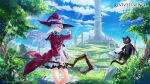 1girl absurdres black_cat black_skirt blue_sky bow cat day dress floating floating_island flower flying from_side grass grey_hair hand_on_headwear hand_up hat hat_bow highres holding holding_staff hoojiro lantern logo long_hair long_sleeves miniskirt open_clothes open_robe outdoors parted_lips red_eyes red_ribbon red_robe revived_witch ribbon robe short_dress skirt sky smile staff tower tree watermark white_bow white_dress white_flower witch witch_hat