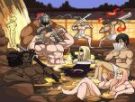 6+boys abs alcohol ass axl_low back black_hair blonde_hair blurry blurry_background bottle boulder breasts brown_hair chipp_zanuff closed_eyes commentary completely_nude crossed_legs dark-skinned_male dark_skin depth_of_field eddie_(guilty_gear) facial_hair fire flexing guilty_gear highres holding holding_bottle holding_weapon ky_kiske leo_whitefang long_hair manly mito_anji multiple_boys muscular nagoriyuki naked_towel no_nipples nude onsen outdoors partially_submerged ponytail pose potemkin_(guilty_gear) shoulder_blades sitting smile soaking_feet sol_badguy tina_fate towel very_dark_skin water weapon zato-1