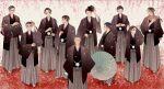 6+boys amari_(joker_game) black_hair black_headwear black_kimono brown_hair closed_eyes crossed_arms everyone fukumoto_(joker_game) grey_hakama hakama hand_up hands_together hat hatano_(joker_game) highres iamumi japanese_clothes jitsui_(joker_game) joker_game kaminaga_(joker_game) kimono kiseru knife male_focus miyoshi_(joker_game) multiple_boys odagiri_(joker_game) oil-paper_umbrella old old_man outdoors petals pink_scarf pipe sakuma_(joker_game) scarf standing tazaki_(joker_game) umbrella yuuki_(joker_game)