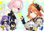 2boys 4girls :3 ahoge anniversary ascot bangs bare_shoulders black_coat black_footwear black_gloves black_hair black_jacket black_neckwear black_pants black_ribbon black_skirt blue_eyes blue_ribbon breasts chaldea_logo charles-henri_sanson_(fate) chibi chinese_clothes coat commentary_request copyright_name cropped_jacket crotch_plate dress eyebrows_visible_through_hair fate/grand_order fate_(series) fingernails flower_tattoo fujimaru_ritsuka_(female) full_body gauntlets gloves green_eyes hair_between_eyes hair_ornament hair_over_one_eye hair_ribbon hair_scrunchie hands_in_pockets hat highres holding holding_hands holy_grail_(fate) interlocked_fingers jacket jewelry kuzuta0807 large_breasts leg_up light_purple_hair long_hair looking_at_another looking_at_viewer looking_to_the_side marie_antoinette_(fate) mash_kyrielight meltryllis_(fate) middle_w miniboy minigirl miniskirt multiple_boys multiple_girls neck_ribbon necklace one_eye_closed one_eye_covered open_mouth orange_eyes orange_hair pants pink_neckwear pocket ponytail prosthesis prosthetic_leg purple_hair red_dress red_gloves red_headwear ribbon saint_quartz_(fate) scrunchie short_hair shrug_(clothing) side_ponytail silver_hair skirt sleeveless sleeveless_dress sleeves_past_fingers sleeves_past_wrists smile tattoo teeth twintails under_the_same_sky upper_body violet_eyes w white_dress white_footwear white_hair white_scrunchie wrist_cuffs yan_qing_(fate)