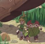 1boy acorn androgynous blonde_hair boots brown_hair brown_pants ezlo facial_mark grass green_tunic highres khiuly link minish pants pebble red_headwear sidelocks size_difference surprised the_legend_of_zelda the_legend_of_zelda:_the_minish_cap white_legwear