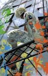 1boy absurdres air_(airzzz_) black_hair black_mask blue_sky building clouds cloudy_sky day from_below full_body highres knee_up long_sleeves looking_at_viewer mask mouth_mask original outdoors paint_splatter paintbrush reflection short_hair sitting sky solo v