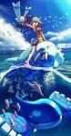 1girl :d bandana bare_legs barefoot breasts brown_hair day gorebyss green_bandana kyogre legendary_pokemon luvdisc may_(pokemon) medium_breasts open_mouth outdoors partially_underwater_shot pokemon pokemon_(creature) pokemon_(game) pokemon_emerald pokemon_rse rowdon smile walrein water wingull