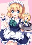 1girl alice_margatroid apron arm_up bangs black_eyes black_footwear blonde_hair blue_dress blue_eyes blush bow bowtie braid breasts collar collared_shirt cosplay doll dress eyebrows_visible_through_hair green_bow green_neckwear hair_between_eyes hair_bow hand_up hands_up highres izayoi_sakuya izayoi_sakuya_(cosplay) kneehighs knife long_hair looking_at_viewer looking_to_the_side maid maid_headdress medium_breasts one-hour_drawing_challenge pink_background puffy_short_sleeves puffy_sleeves ruu_(tksymkw) shanghai_doll shirt shoes short_hair short_sleeves smile solo standing touhou tray twin_braids weapon white_apron white_legwear white_shirt white_sleeves wrist_cuffs