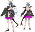 1girl asymmetrical_wings black_dress blue_hair breasts character_sheet dizzy_(guilty_gear) dress feathered_wings guilty_gear guilty_gear_vastedge_xt high_heels large_breasts long_hair official_art ponytail red_eyes ribbon tail wings yellow_ribbon