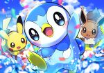 :d absurdres blurry blush_stickers clouds commentary_request confetti day eevee highres leg_up no_humans open_mouth outdoors pikachu piplup pokemon pokemon_(creature) pon_yui sky smile tongue water water_drop