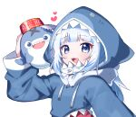 1girl :d animal_hood bloop_(gawr_gura) blue_eyes blue_hair blue_hoodie blush commentary_request drawstring gawr_gura hand_up heart highres hololive hololive_english hood hood_up hoodie long_hair long_sleeves looking_at_viewer multicolored_hair open_mouth romaji_commentary shark_hood sharp_teeth smile streaked_hair teeth tosyeo upper_body virtual_youtuber white_hair wide_sleeves
