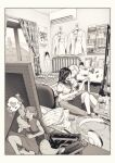 1boy 2girls bed chips closed_eyes controller couple eating fairy fairy_wings food game_controller greyscale heart hiding highres jorori minigirl monochrome multiple_girls original poster_(object) potato_chips room sitting sitting_on_lap sitting_on_person smile spoken_heart wings