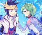 10439vu 1boy 1girl choker couple green_hair jacket multicolored_hair rin_(yuu-gi-ou_arc-v) smile two-tone_hair yuu-gi-ou yuu-gi-ou_arc-v yuugo_(yuu-gi-ou_arc-v)