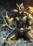 1boy abs another_agito armor black_armor compound_eyes green_armor horns kamen_rider kamen_rider_agito_(series) male_focus organic pose red_eyes rider_belt scarf sharp_teeth shinpei_(shimpay) teeth yellow_scarf