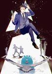 6+boys adjusting_clothes adjusting_headwear bird black_background blue_headwear blue_suit brown_footwear brown_hair card child crossed_legs ground_vehicle hat highres iamumi invisible_chair joker_game light_smile long_sleeves multicolored_hair multiple_boys necktie shadow short_hair sitting solo_focus steam tazaki_(joker_game) train two-tone_hair vest white_background