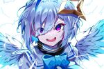 1girl :d absurdres amane_kanata angel_wings bangs blue_bow blue_hair bow commentary_request eyebrows_visible_through_hair eyes_visible_through_hair feathered_wings halo highres hololive looking_at_viewer multicolored_hair open_mouth pension_z portrait purple_hair sailor_collar short_hair silver_hair simple_background smile solo star_halo streaked_hair turtleneck violet_eyes virtual_youtuber white_background white_sailor_collar wings