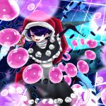 1girl :3 bangs black_capelet black_gloves blue_eyes capelet chain danmaku dark_blue_hair doremy_sweet dream_soul dream_world_(touhou) dress elbow_gloves english_commentary frilled_dress frills gloves hair_over_one_eye hat is_usami_not_usamimi lock looking_at_viewer pipe pom_pom_(clothes) santa_hat smoking smug solo tail tapir_tail touhou white_dress