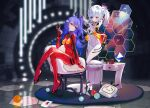 2girls absurdres adjusting_hair ahoge armchair ayanami_rei ayanami_rei_(cosplay) bili_girl_22 bili_girl_33 bilibili_douga blue_hair bodysuit breasts cellphone chair character_request cosplay english_commentary flip_phone full_body grandia_lee hexagon highres light_smile long_hair looking_at_another medium_hair multiple_girls neon_genesis_evangelion nerv phone play_button_(object) plugsuit rebuild_of_evangelion red_bodysuit sitting skin_tight small_breasts souryuu_asuka_langley souryuu_asuka_langley_(cosplay) stool test_plugsuit twintails wall_panel white_hair