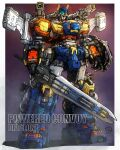 absurdres character_name copyright_name diaclone highres holding holding_sword holding_weapon mecha mechanical_wings moyan no_humans open_hand powered_convoy procreate_(medium) science_fiction shoulder_cannon solo standing sword weapon wings yellow_eyes