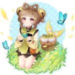 1girl absurdres bangs basket bell blunt_bangs braid brown_eyes brown_hair bug butterfly chinese_clothes commentary_request eyebrows_visible_through_hair genshin_impact hahany hair_bell hair_ornament highres long_hair long_sleeves looking_at_viewer seiza sidelocks signature sitting smile solo yaoyao_(genshin_impact)