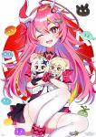 3girls :d absurdres alternate_eye_color bad_id bad_pixiv_id bare_shoulders black_gloves black_neckwear blonde_hair chibi company_connection crossover fangs flower genshin_impact gloves hair_flower hair_ornament hairpin halo highres holding_another honkai_(series) honkai_impact_3rd horns huge_filesize long_hair looking_at_viewer lumine_(genshin_impact) mihoyo_technology_(shanghai)_co._ltd. multiple_girls one_eye_closed open_mouth paimon_(genshin_impact) pink_eyes pink_hair pupy_exe rozaliya_olenyeva scarf simple_background single_horn smile tagme teeth thick_eyebrows thigh-highs v-shaped_eyebrows white_background white_hair white_legwear white_neckwear