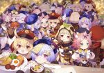 +_+ 6+girls :d :t ^_^ ahoge animal_ear_fluff animal_ears arm_up arms_up bangs bangs_pinned_back barbara_(genshin_impact) beret black_headwear blonde_hair blue_headwear blue_jacket blush brown_eyes brown_gloves cabbie_hat cat_ears cat_girl cat_tail closed_eyes closed_mouth commentary_request diona_(genshin_impact) dress drinking_straw explosive eyebrows_visible_through_hair fake_animal_ears fang finger_to_mouth food forehead fried_egg fruit_cup genshin_impact gloves grenade hair_between_eyes hat hat_feather heart highres holding holding_plate hood hood_up jacket klee_(genshin_impact) leaf leaf_on_head long_sleeves lumine_(genshin_impact) multiple_girls multiple_persona navel nose_blush open_mouth pink_hair plate pout profile puffy_long_sleeves puffy_sleeves purple_hair qing_guanmao qiqi_(genshin_impact) raccoon_ears raccoon_hood red_dress red_headwear sausage sayu_(genshin_impact) shirt short_eyebrows smile sparkle sweat tail tail_raised thick_eyebrows tsubasa_tsubasa violet_eyes white_feathers white_shirt x_x