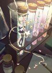 1girl aqua_eyes aqua_hair aqua_nails aqua_neckwear bare_shoulders beaker black_legwear black_skirt black_sleeves blue_flower book bottle bug butterfly clipboard commentary detached_sleeves flower fountain_pen glowing glowing_butterfly green_flower hair_ornament halo hatsune_miku hatsune_miku_(vocaloid4) headphones headset high_heels highres holding holding_flower indoors light_particles long_hair looking_at_viewer minigirl miniskirt nail_polish necktie pen petals pink_flower plant pleated_skirt red_flower shirt skirt sleeveless sleeveless_shirt solo test_tube thigh-highs translated twintails v4x very_long_hair vocaloid w.r.b white_shirt yellow_flower zettai_ryouiki