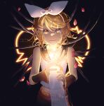 1boy 1girl android arm_warmers bangs bare_shoulders belt black_background black_collar blonde_hair blue_eyes bow cable collar collarbone commentary cropped_shirt crying crying_with_eyes_open glowing hair_bow hair_ornament hairclip hand_on_another's_chest holding_another's_arm kagamine_rin kokoro_(vocaloid) looking_at_viewer midriff nail_polish navel neckerchief out_of_frame petals pov pov_hands sailor_collar school_uniform shirt short_hair shoulder_tattoo sleeveless sleeveless_shirt smile song_name swept_bangs tattoo tears translated vocaloid w.r.b white_bow white_shirt yellow_nails yellow_neckwear