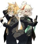 2boys absurdres alternate_costume alternate_hairstyle animal_ears antenna_hair aqua_eyes arrow_(projectile) bandaged_hand bandages bangs black_jacket black_pants bow_(weapon) brown_hair closed_mouth fox_boy fox_ears fox_tail genshin_impact gorou_(genshin_impact) green_neckwear grey_shirt hair_between_eyes hair_down highres holding holding_bow_(weapon) holding_sword holding_weapon jacket kaedehara_kazuha long_sleeves looking_at_viewer male_focus multicolored_hair multiple_boys necktie pants quiver red_eyes redhead ryu_genshin77 shirt simple_background streaked_hair sword tail weapon white_background white_hair yellow_neckwear