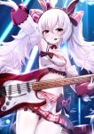 1girl :o animal_ears arm_up armpits artist_name ass_visible_through_thighs azur_lane bangs bare_shoulders black_choker blush bow breasts choker collarbone commentary_request cowboy_shot crop_top detached_sleeves electric_guitar eyebrows_behind_hair fake_animal_ears frills guitar hair_between_eyes hair_bow hairband headset highres holding holding_instrument idol instrument laffey_(azur_lane) laffey_(halfhearted_bunny_idol)_(azur_lane) long_hair looking_at_viewer midriff navel nekoya_(liu) pantyhose partial_commentary pink_skirt plaid plaid_bow plaid_skirt pleated_skirt rabbit_ears red_eyes red_hairband ribbon_choker sidelocks single_strap skirt small_breasts solo stage_lights standing twintails twitter_username very_long_hair white_hair white_legwear white_sleeves