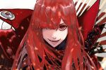 1girl :d fate/grand_order fate_(series) grin hair_over_one_eye high_collar kdm_(ke_dama) long_hair looking_at_viewer oda_nobunaga_(fate) oda_nobunaga_(maou_avenger)_(fate) one_eye_covered open_mouth portrait red_eyes red_theme redhead simple_background smile solo white_background