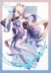 1cm137w 1girl absurdres bare_shoulders blue_bow blue_hair bow breasts frilled_sleeves frills full_body genshin_impact gloves half_gloves highres in_water japanese_clothes large_bow long_hair looking_at_viewer medium_breasts pink_hair purple_bow purple_hair purple_legwear sandals sangonomiya_kokomi short_shorts shorts solo tabi thigh-highs violet_eyes vision_(genshin_impact) white_legwear white_shorts wide_sleeves