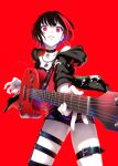 1girl aya_shachou bang_dream! belt black_choker black_hair black_jacket choker colored_skin earrings electric_guitar fingernails foreshortening guitar highres holding holding_instrument hood hooded_jacket hoop_earrings instrument jacket jewelry looking_at_viewer mitake_ran multicolored_hair necklace perspective red_background red_eyes red_theme short_hair simple_background smile solo standing streaked_hair thigh_strap white_skin wide-eyed