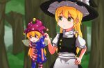 2girls american_flag american_flag_dress american_flag_legwear bangs black_headwear black_vest blonde_hair blush bow braid character_request closed_mouth clownpiece commentary_request cookie_(touhou) day eyebrows_visible_through_hair fairy_wings feet_out_of_frame forest hair_bow hat hat_bow jester_cap kirisame_marisa leggings long_hair looking_at_another multiple_girls nature neck_ruff open_mouth outdoors picking_up pink_eyes polka_dot_headwear puffy_short_sleeves puffy_sleeves shirt short_sleeves side_braid single_braid star_(symbol) star_print touhou very_long_hair vest white_bow white_shirt wings yan_pai yellow_eyes