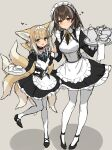 2girls :d absurdres alternate_costume animal_ears apron arknights black_dress black_footwear blonde_hair blue_neckwear blush braid breasts brown_hair cake cake_slice chinese_commentary collar collared_dress commentary_request dress earrings enmaided eyebrows_visible_through_hair food fox_ears fox_girl fox_tail full_body green_eyes grey_background hair_between_eyes hands_up heart height_difference highres holding holding_hands holding_plate interlocked_fingers jewelry kitsune kyuubi looking_at_viewer magallan_(arknights) maid maid_headdress medium_breasts multicolored_hair multiple_girls multiple_tails neck_ribbon open_mouth pantyhose plate ribbon shoes short_hair sigm@ simple_background sketch small_breasts smile standing standing_on_one_leg streaked_hair suzuran_(arknights) tail tray white_apron white_collar white_hair white_headdress white_legwear yellow_eyes yellow_neckwear