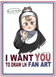1girl :p brown_eyes brown_hair child commentary diva_(hyxpk) english_text frog frog_on_head habit hashtag highres hook-bang_nun_(diva) i_want_you little_nuns_(diva) looking_at_viewer nun pointing pointing_at_viewer poster_(medium) propaganda simple_background solo symbol-only_commentary tongue tongue_out upper_body veil white_background