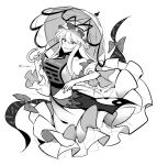1girl breasts commentary_request flame_print folding_fan gap_(touhou) hair_between_eyes hair_ribbon hand_fan hat highres holding holding_fan kuroshirase large_breasts long_hair looking_at_viewer mob_cap monochrome one-hour_drawing_challenge ribbon sidelocks simple_background smile solo tabard touhou transparent_background twitter_username umbrella umbrella_bow white_background wide_sleeves yakumo_yukari yin_yang yin_yang_print