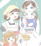 3girls apron aqua_background aqua_headband arms_up bangs blue_dress blue_eyes blunt_bangs blush_stickers bob_cut bowl brown_hair closed_mouth collared_dress colored_skin double_bun dress eyebrows_visible_through_hair frilled_apron frilled_sleeves frills green_eyes hair_ornament hair_ribbon hair_up hairclip happy headband height_difference highres holding holding_bowl holding_ladle horizontal_stripes kawamoto_akari kawamoto_hinata kawamoto_momo kumami_illust lace_background ladle light_brown_hair light_smile lips looking_afar looking_at_viewer multicolored multicolored_eyes multiple_girls no_nose open_mouth outstretched_arms pale_color parted_bangs pink_shirt polka_dot polka_dot_dress puffy_short_sleeves puffy_sleeves ribbon sangatsu_no_lion shirt short_hair short_sleeves siblings side_ponytail sideways_glance signature simple_background sisters sleeveless sleeveless_dress sparkle sparkle_background striped tied_hair tsurime vertical_stripes waist_apron white_apron white_skin yellow_headband