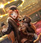 1girl absurdres animal_ears arknights blonde_hair blue_eyes claw_pose coat dress eyebrows_visible_through_hair fang fang_out fur-trimmed_coat fur_trim gloves hat highres kobarisusuz long_hair multicolored_hair official_alternate_costume one_eye_closed open_mouth red_dress redhead solo streaked_hair sunglasses swire_(arknights) swire_(honor_and_splendor)_(arknights) tail tiger tiger_ears tiger_girl tiger_tail very_long_hair