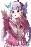 1girl :o absurdres blue_butterfly blue_eyes blush bow bow_hairband bug butterfly cozyu dated grey_hair hair_bow hairband hands_up heart heart_in_eye highres horns kanna_kamui kobayashi-san_chi_no_maidragon long_hair multiple_horns open_mouth pink_shirt shirt signature simple_background solo symbol_in_eye white_background