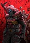 2boys another_kabuto_(zi-o) another_rider_(zi-o) armor back-to-back beetle bug creature grasshopper helmet japanese_armor kabuto kamen_rider kamen_rider_punch_hopper kamen_rider_zi-o_(series) monster multiple_boys red_armor red_background rhinoceros_beetle shinpei_(shimpay)