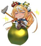 1girl absurdres brown_gloves cauldron chibi closed_eyes crown getting_over_it gloves golden_cauldron hammer highres hololive in_cauldron long_hair partially_fingerless_gloves pointy_ears ponytail shiranui_flare sledgehammer smile solo v-shaped_eyebrows virtual_youtuber wide_sleeves yomosaka