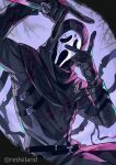 1boy akagi_(redsiland) arms_up artist_name belt black_gloves black_hoodie blood blood_on_clothes blood_on_knife dead_by_daylight double_v ghostface gloves highres holding holding_knife hood hoodie knife mask scream_(movie) the_legion_(dead_by_daylight) v weapon