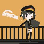 1girl adjusting_clothes adjusting_headwear arm_up black_hair blush chibi closed_mouth cobalta ground_vehicle hair_ornament hairclip hat long_sleeves looking_at_viewer one_eye_closed rail_romanesque short_hair solo train