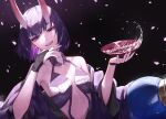 1girl absurdres alcohol bare_shoulders black_gloves bob_cut breasts cup eyeliner fangs fate/grand_order fate_(series) fingernails gloves grey_eyes highres hikimayu horns japanese_clothes kimono looking_at_viewer makeup oni oni_horns open_clothes open_kimono panties purple_hair purple_kimono revealing_clothes rurumad sakazuki sake short_hair shuten_douji_(fate) skin-covered_horns small_breasts solo underwear