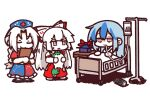 3girls bed blanket blue_hair bow braid can clipboard concha3381 concha_(mamecha) cross drinking fujiwara_no_mokou hair_bow hat hat_removed headwear_removed highres jitome kamishirasawa_keine long_hair monster_energy multicolored_hair multiple_girls nurse_cap red_bow red_eyes silver_hair simple_background smile suspenders touhou two-tone_hair white_background yagokoro_eirin