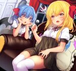 2girls :d alternate_costume bangs bat_wings blonde_hair blue_hair blush bow breasts bright_pupils commentary_request crescent_moon crystal curtains dutch_angle eyebrows_visible_through_hair fang feet_out_of_frame flandre_scarlet floral_print hair_between_eyes hair_bow hands_on_own_cheeks hands_on_own_face head_rest head_tilt holding holding_stick indoors long_hair looking_at_viewer medium_hair mimikaki moon multiple_girls night night_sky open_mouth pillow puffy_short_sleeves puffy_sleeves red_bow red_eyes red_neckwear red_ribbon remilia_scarlet ribbon rimu_(kingyo_origin) short_sleeves sitting skin_fang sky small_breasts smile stick thigh-highs thighs touhou white_legwear window wing_collar wings