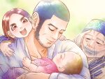 1boy 3girls ainu ainu_clothes beard black_hair blush buzz_cut character_request child closed_mouth facial_hair father_and_daughter golden_kamuy head_on_another's_shoulder lips long_sideburns male_focus mature_male multiple_girls nopinzo old old_woman scar scar_on_cheek scar_on_face short_hair sideburns smile tanigaki_genjirou thick_eyebrows upper_body very_short_hair