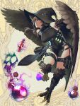 1girl beaker black_dress black_headwear bottle braid breasts brown_background brown_hair character_request claws dairoku_youhei dress feathered_wings full_body harpy hat hetza_(hellshock) holding large_breasts long_hair looking_at_viewer magic monster_girl parted_lips potion pouch sleeveless sleeveless_dress solo test_tube thigh_strap twin_braids winged_arms wings witch_hat yellow_eyes