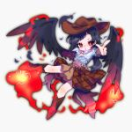 1girl ayahi_4 bangs black_hair black_wings blue_shirt boots brown_footwear brown_skirt cowboy_hat feathered_wings feathers hat highres knee_boots kurokoma_saki looking_at_viewer multicolored multicolored_clothes off-shoulder_shirt off_shoulder open_mouth parted_bangs pegasus_wings plaid plaid_skirt ponytail puffy_short_sleeves puffy_sleeves red_eyes scarf shirt short_sleeves simple_background skirt solo touhou white_background wings wolf_spirit_(touhou)