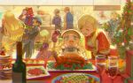4boys 5girls black_hair blonde_hair bottle brothers cat character_request chicken_(food) christmas christmas_tree commentary_request elle_mel_martha food gift glasses green_hair highres indoors jude_mathis julius_will_kresnik ludger_will_kresnik lulu_(tales) meipu_hm milla_maxwell multicolored_hair multiple_boys multiple_girls necktie open_mouth pants shirt siblings suspenders table tales_of_(series) tales_of_xillia tales_of_xillia_2 two-tone_hair vest wine_bottle