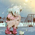 1girl boots double_bun frog green_hair hair_bun highres original rain seiza shorts sitting umbrella